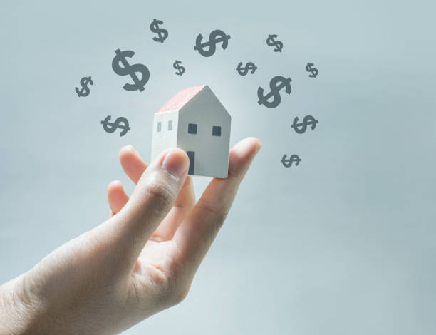 House model on human hands with dollar icon. stock photo