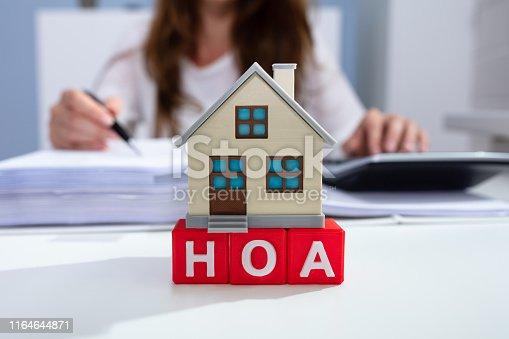istock House Model Over HOA Blocks Over Desk In Office 1164644871