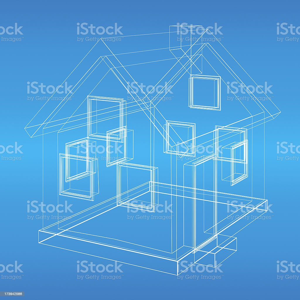 House model wireframe blueprint stock photo