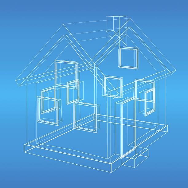 House model wireframe blueprint stock photo