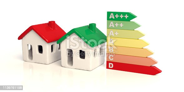 House energy efficient, House models with green and red color roofs and energy classification chart isolated against white background. 3d illustration