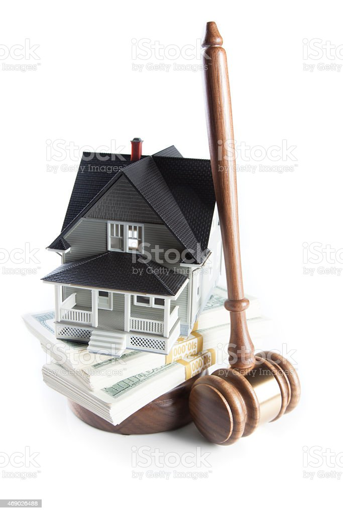 House, Money, Gavel stock photo