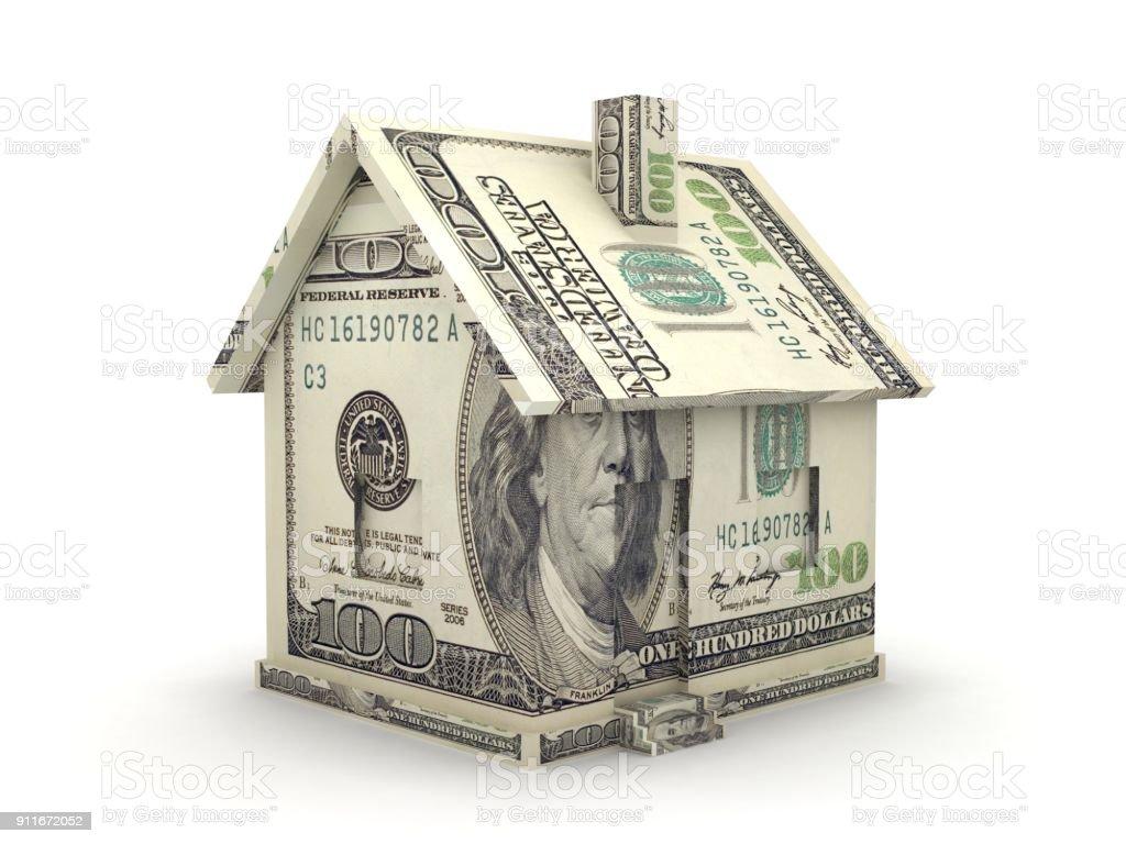 Haus Geld Hypotheken Bank Dollar Konzept – Foto