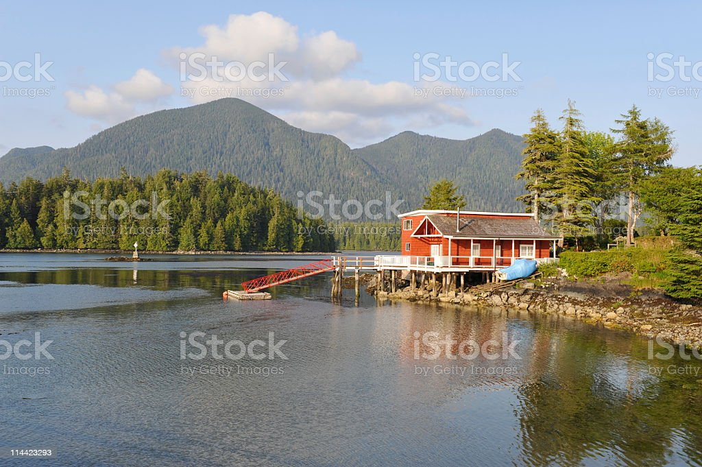 House near the water, Tofino Inlet,Vancouver Island,Canada. stock photo