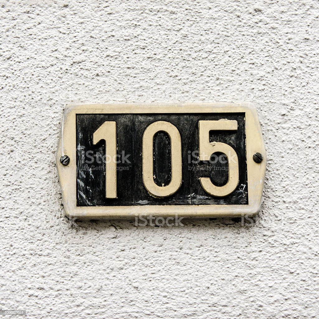 House number 105 stock photo