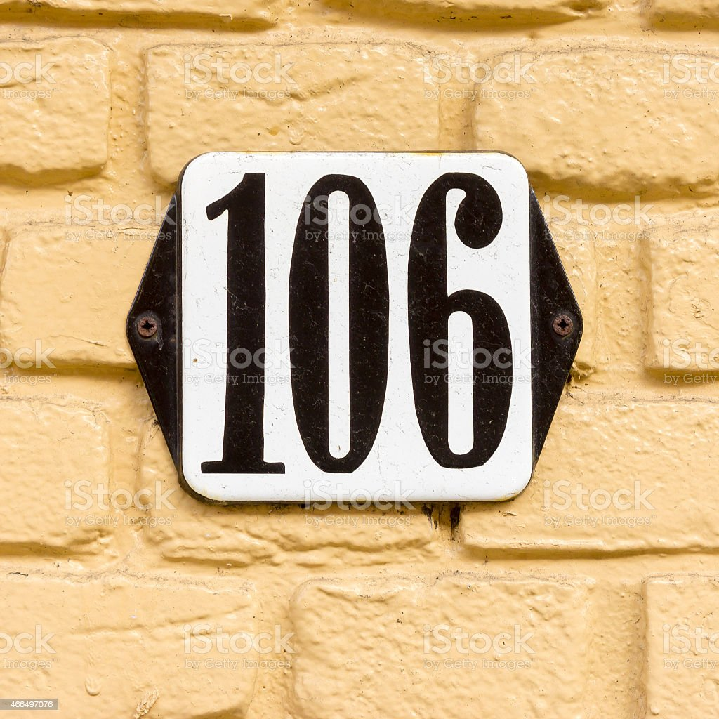 House number 106 stock photo