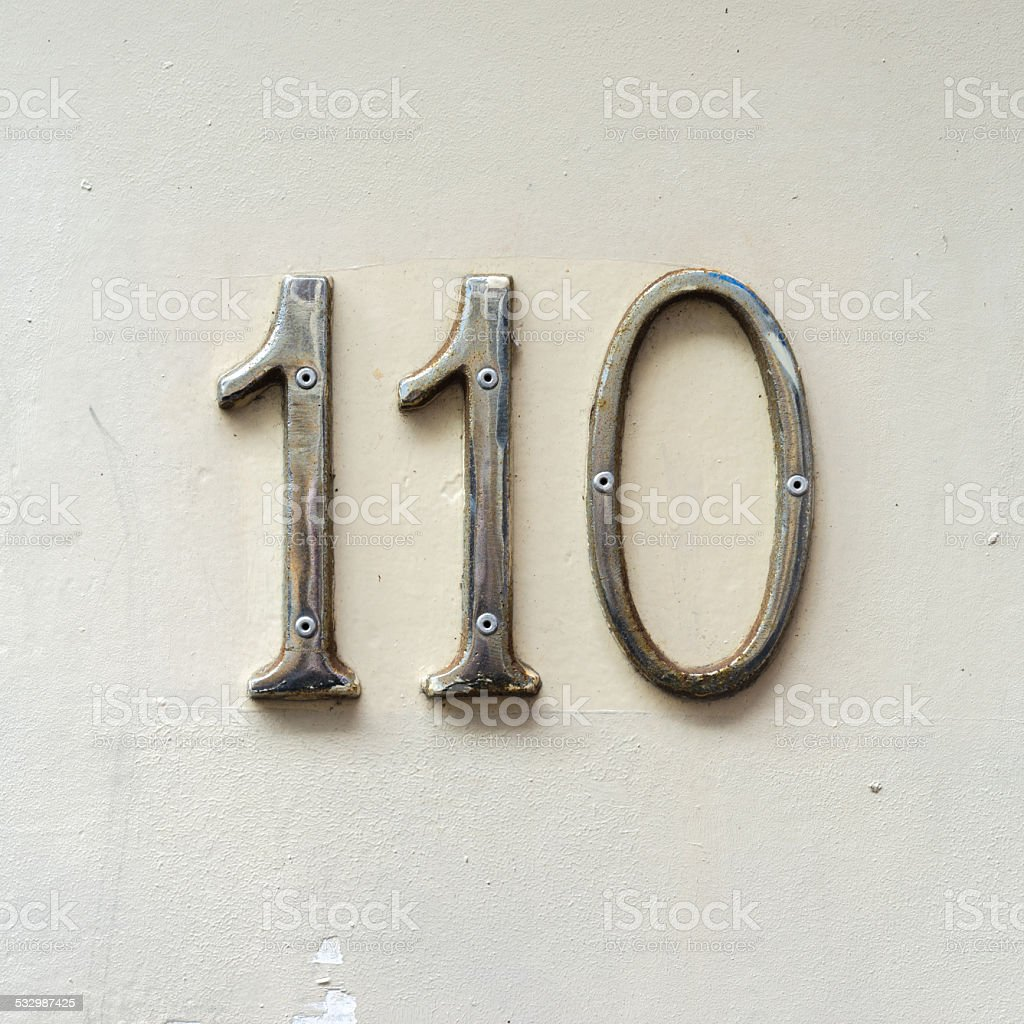House number 110 stock photo