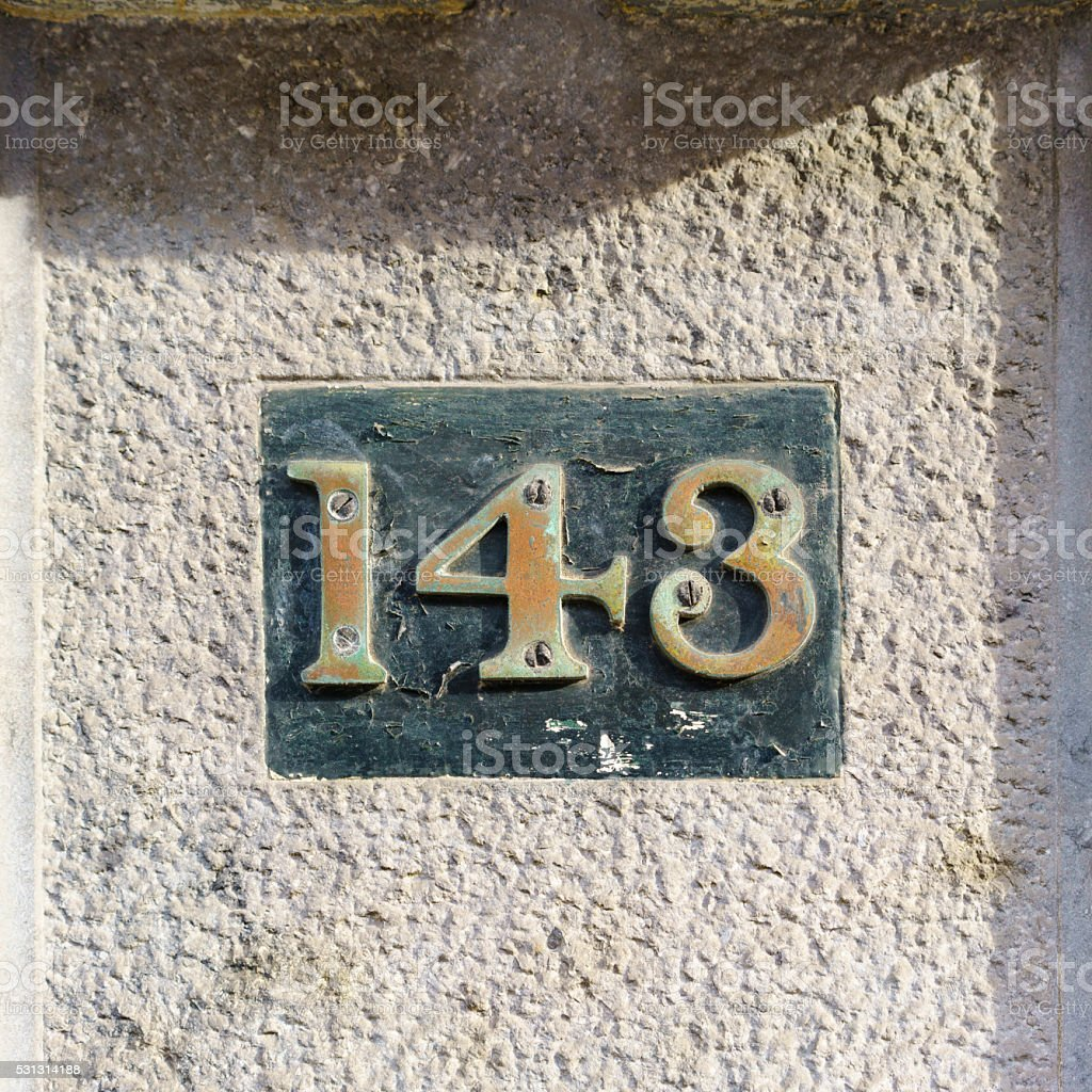 House number 143 stock photo