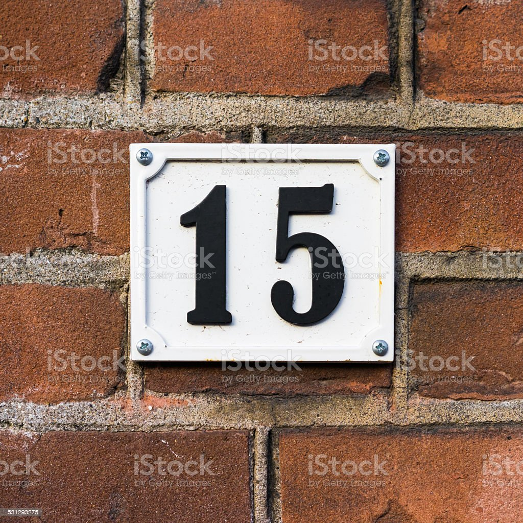 House number 15 stock photo