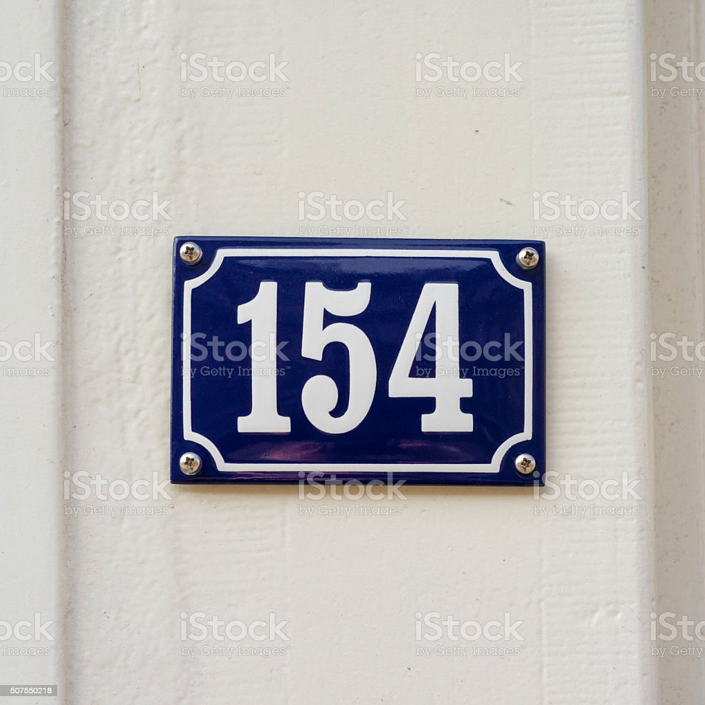 Enameled house number one hundred and fifty four