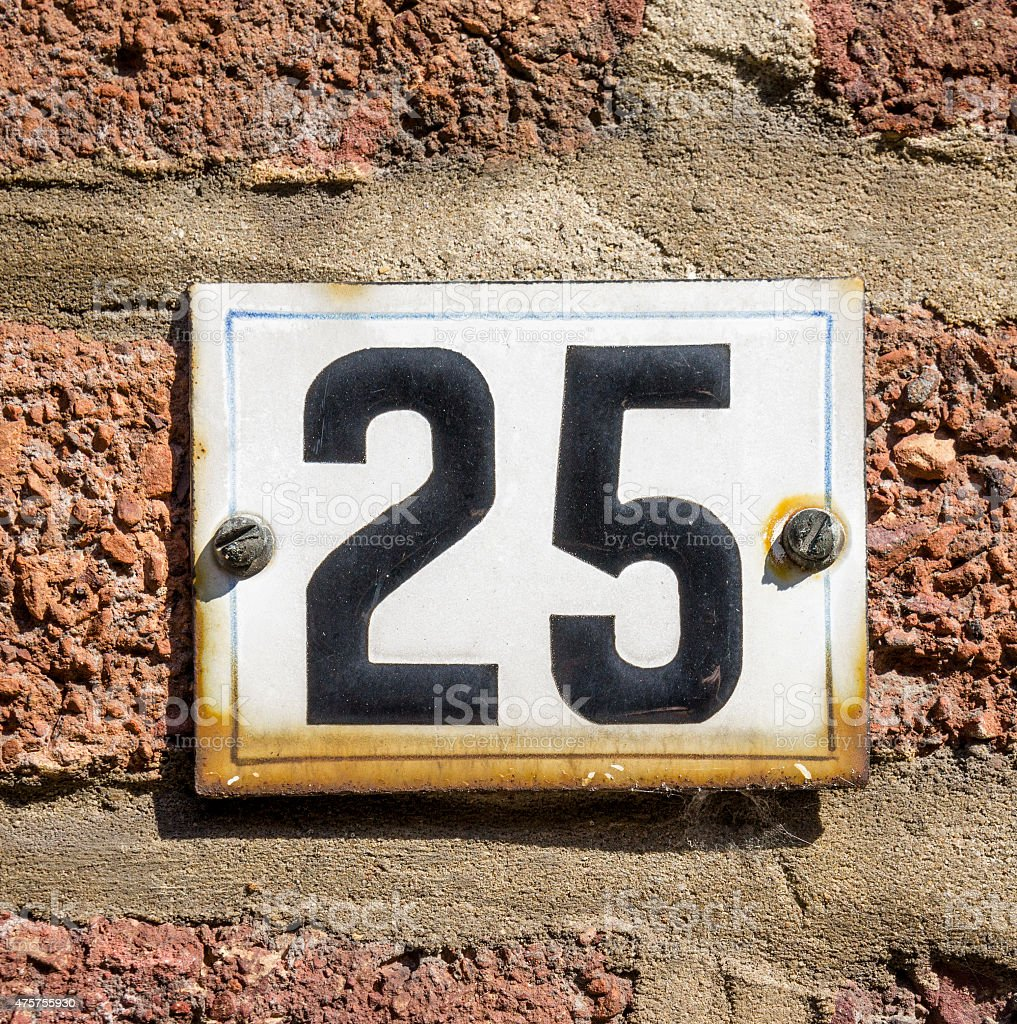 House number 25 stock photo