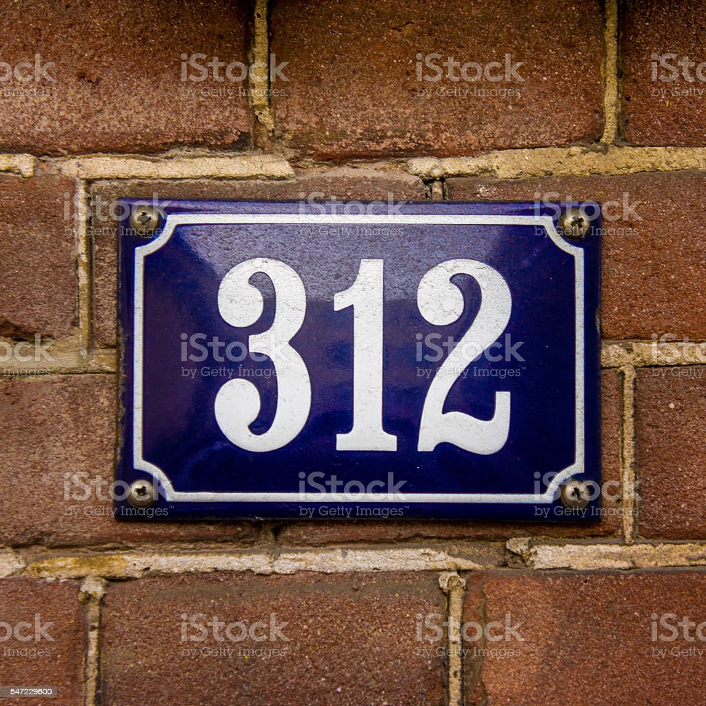 House number 312 stock photo