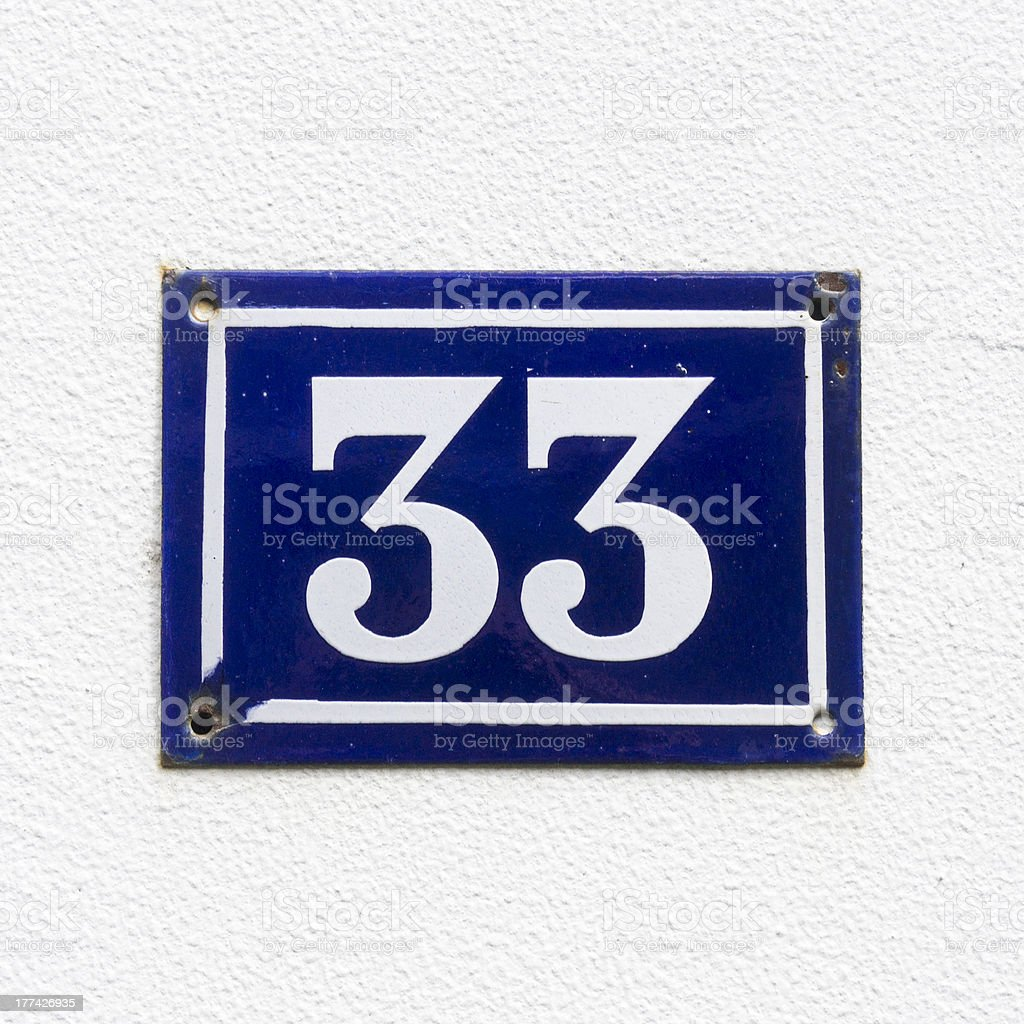 House number 33 stock photo