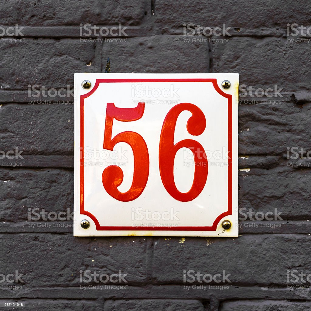 Enameled house number fifty six