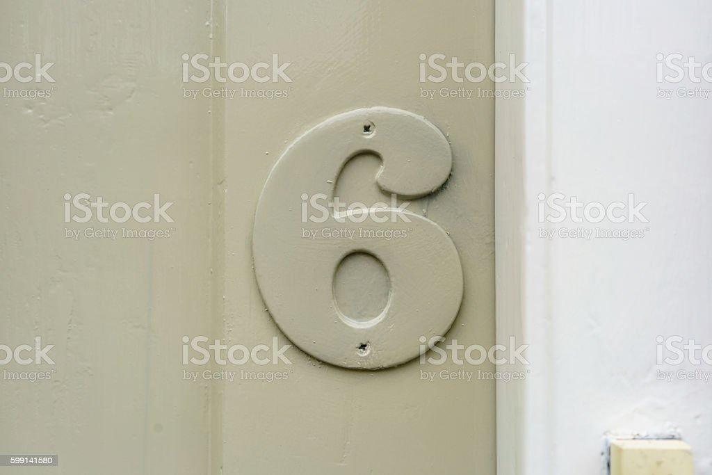 House number 6 stock photo
