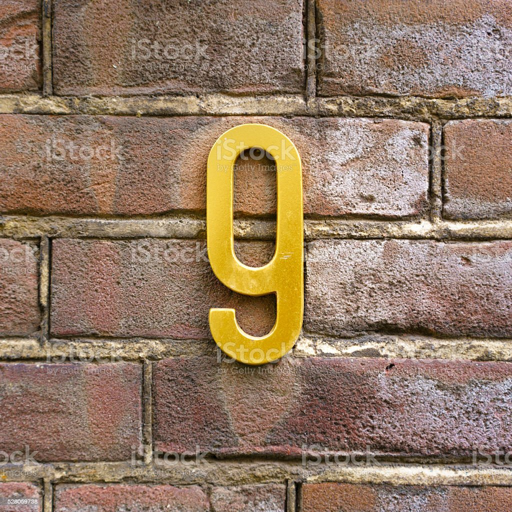 House number 9 stock photo