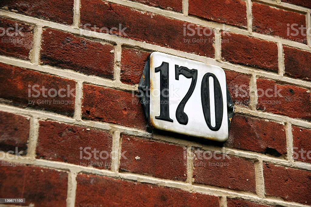 House Number on bricks stock photo