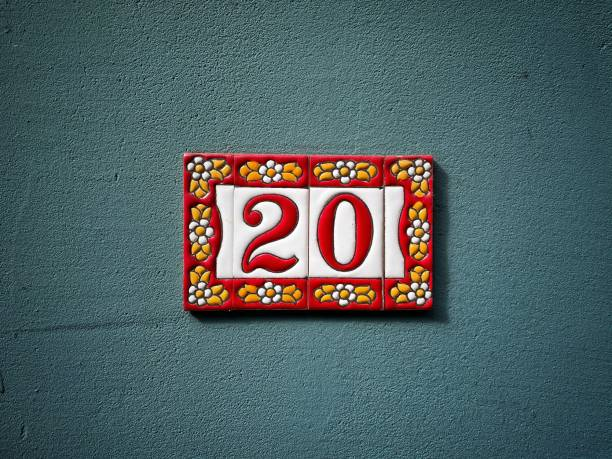 House number plate, house number, street number, number 20 stock photo