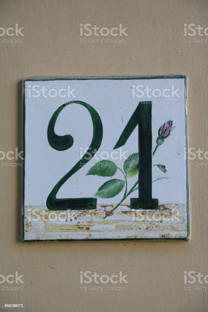 house number twenty one at stone wall – Foto