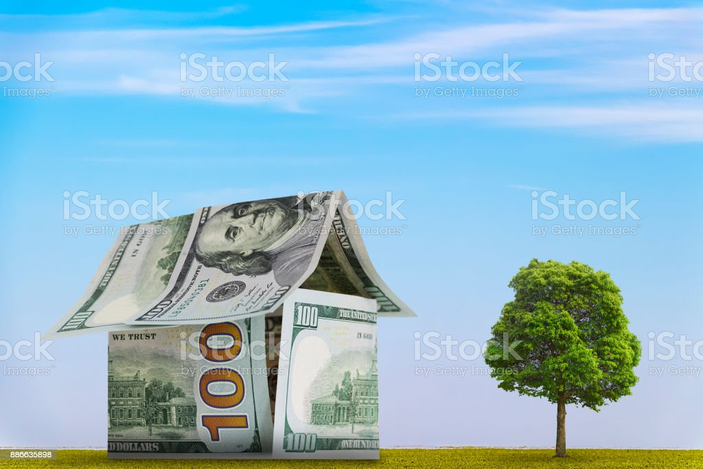 House of 100-dollar bills stock photo
