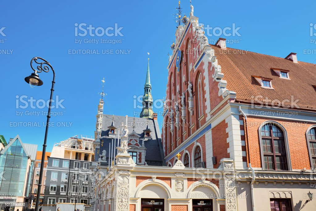 House of Blackheads (Melngalvju nams) is a monument of architecture of the XIV century, Located on the Town Hall Square. stock photo