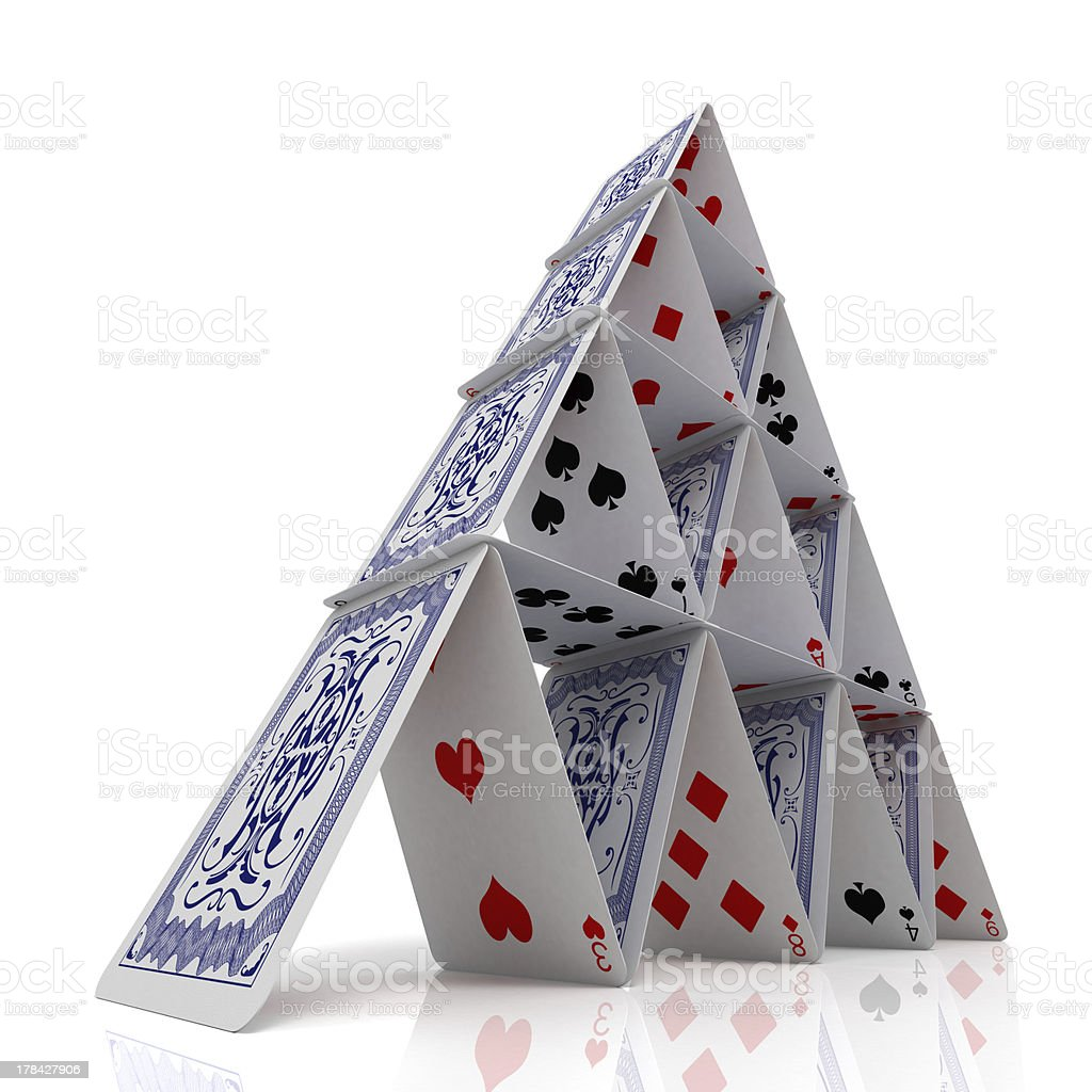 House of cards for balance on white stock photo