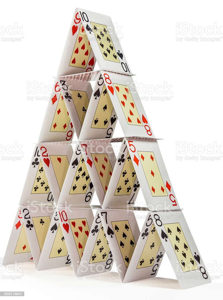 House of cards isolated on white stock photo