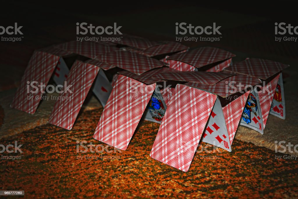 House of cards on the Blurred background. - Royalty-free Achievement Stock Photo