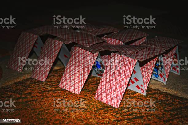 House Of Cards On The Blurred Background Stock Photo - Download Image Now