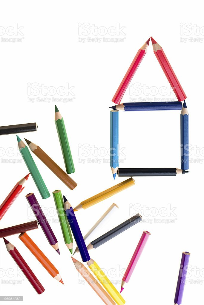 House Of Colour Pencils royalty-free stock photo