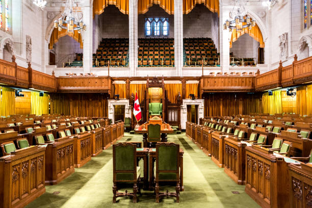 house of commons - canadian parliament building - canada parliament stock photos and pictures
