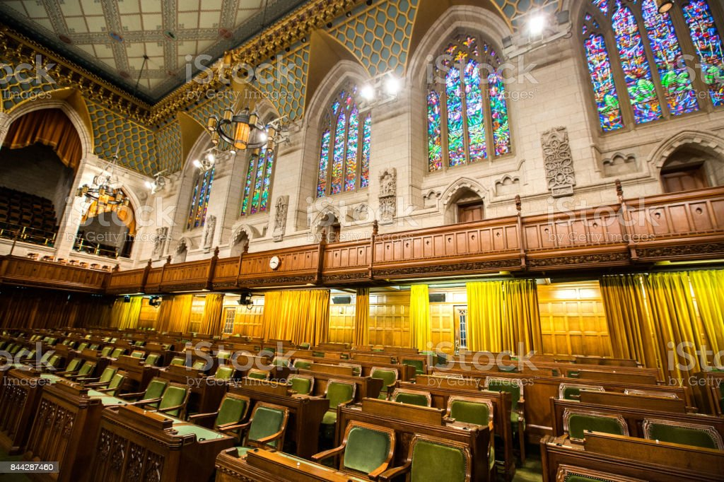 House of Commons in the Canadian Parliament Building stock photo