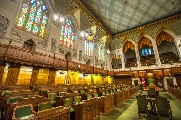 house of commons in the canadian parliament building - canada parliament stock photos and pictures