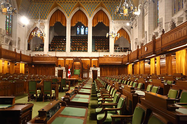 house of commons of canada - canada parliament stock photos and pictures