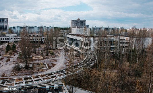 istock House of culture Energetik at Chernobyl city, Ukraine. Abadoned 638747350