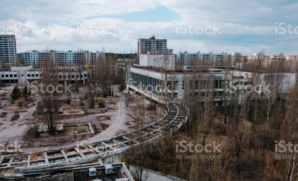House of culture Energetik at Chernobyl city, Ukraine. Abadoned stock photo