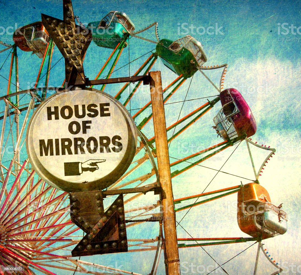 house of mirrors sign stock photo