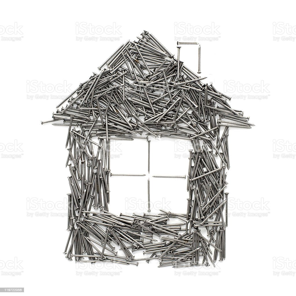 House of nails isolated on white royalty-free stock photo