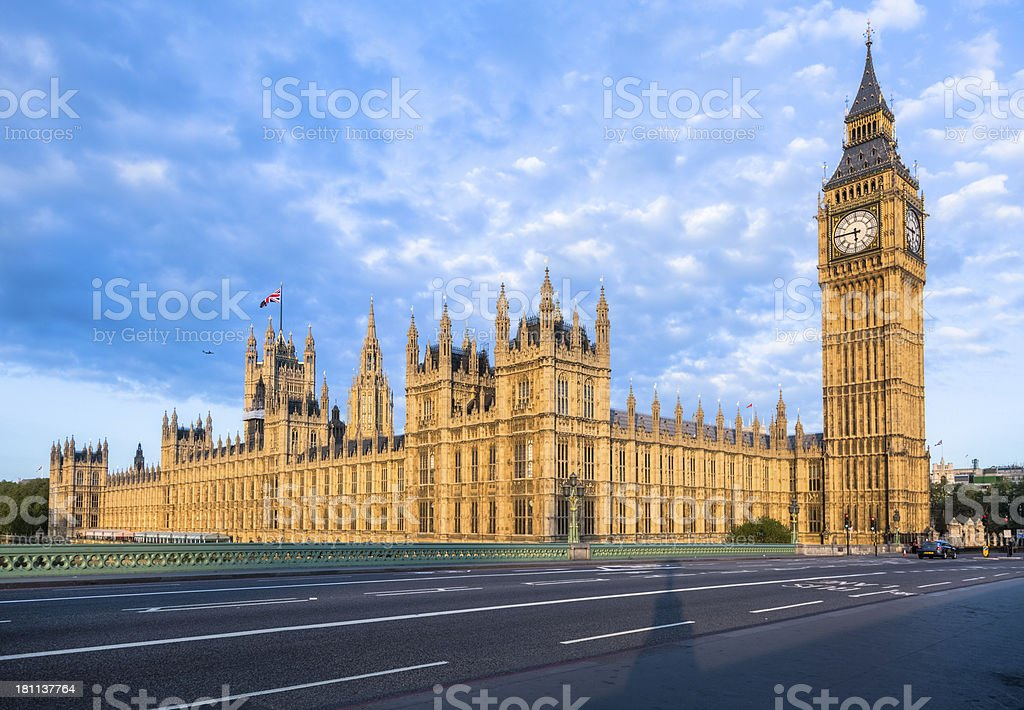 House of Parliament and Big Ben Glowing at Sunrise royalty-free stock photo