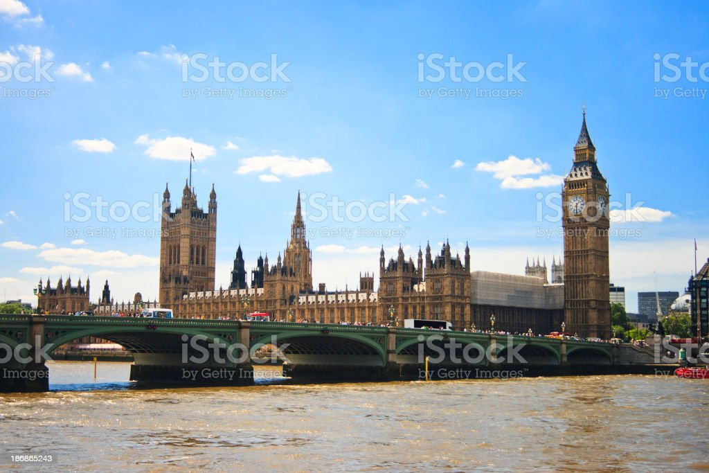 House of Parliament and Westminster Bridge Over the River Thames royalty-free stock photo