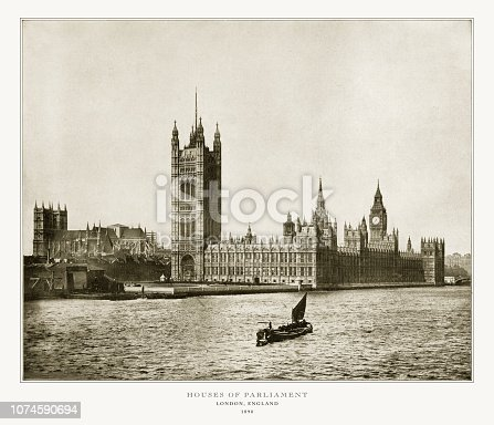 Antique London Photograph: House of Parliament, London, England, 1893. Source: Original edition from my own archives. Copyright has expired on this artwork. Digitally restored.