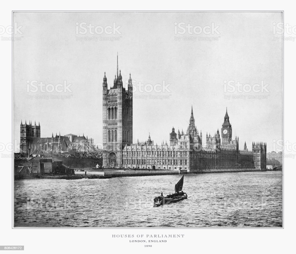 House of Parliament, London, Antique London Photograph, 1893 stock photo