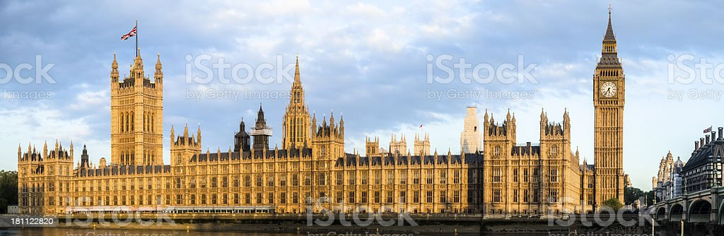 House of Parliament With Big Ben Tower Glowing at Sunrise royalty-free stock photo