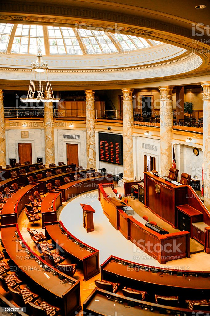 House of Representatives chamber inside the Arkansas State Capitol building stock photo
