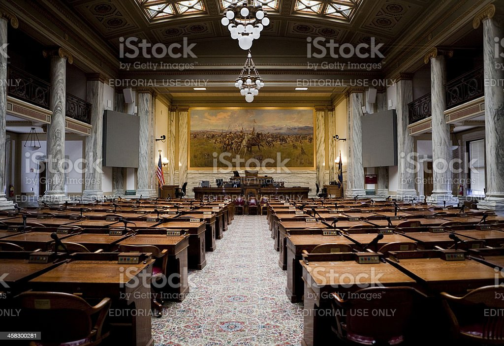 House of Representatives Chamber Montana State Capitol stock photo