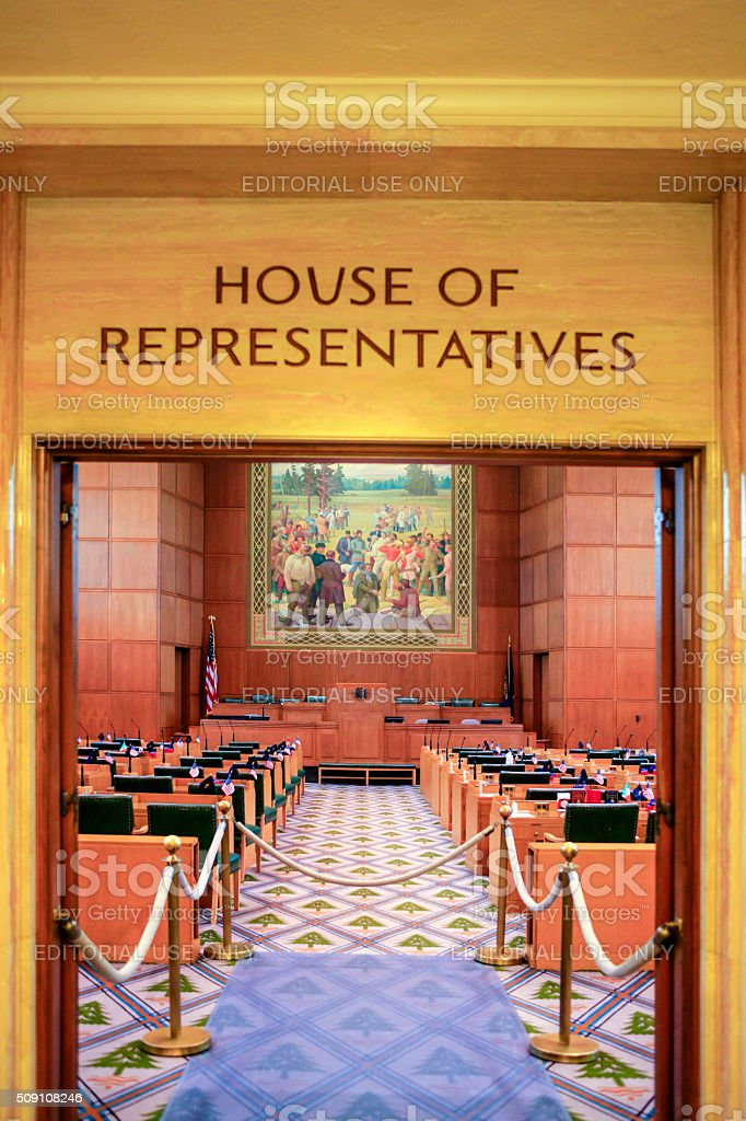 House of Representatives inside the Oregon State Capitol builidng, Salem stock photo