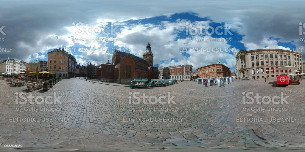 House of the Blackheads at day time 360 vr panorama - Royalty-free Architecture Stock Photo