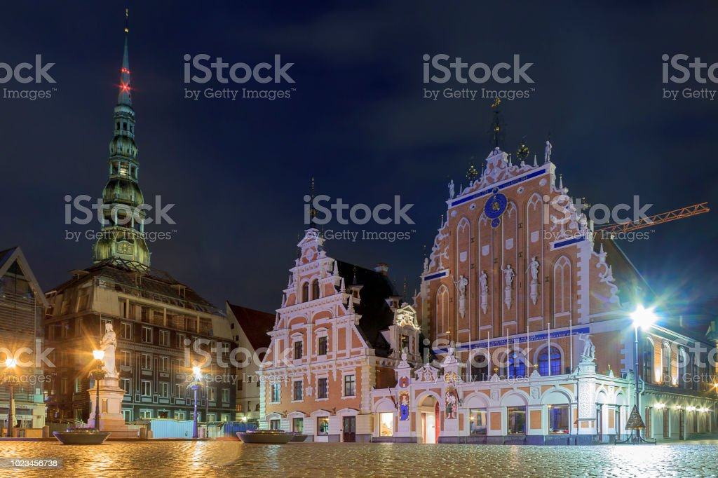 House of the Blackheads is a building situated in the old town of Riga, Latvia. stock photo