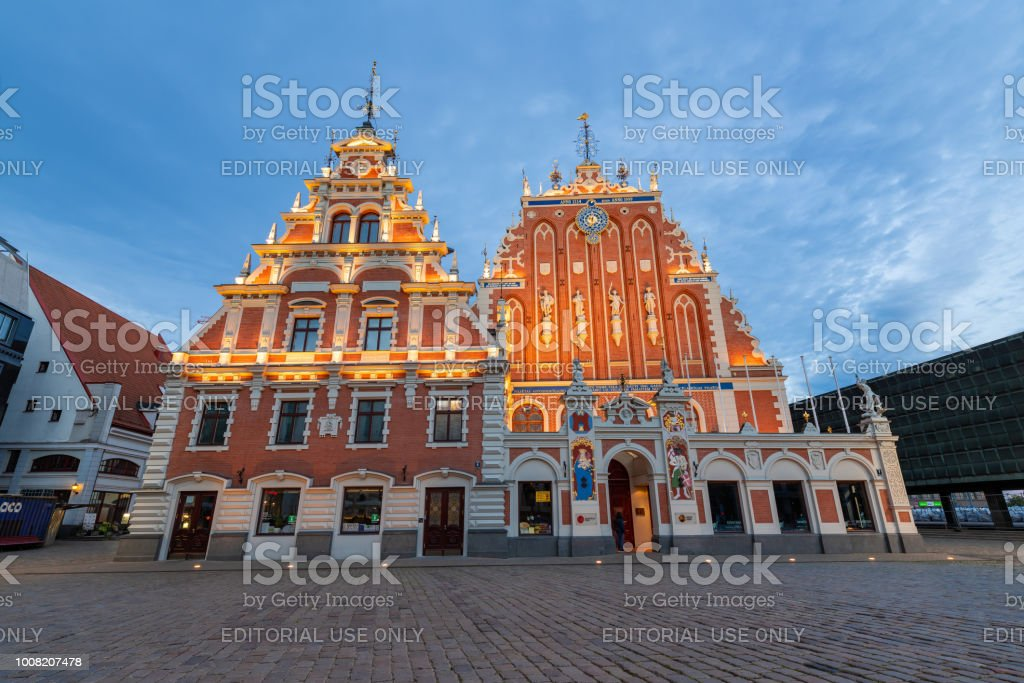 House of the Blackheads, one of the famous tourist attraction in the old town of Riga stock photo