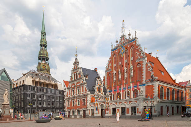 House of the Blackheads & St. Peter's Church in Riga stock photo